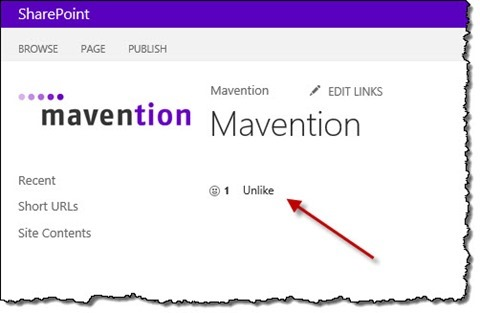 SharePoint 2013 like control displayed on a Publishing Page using Mavention Like This Page