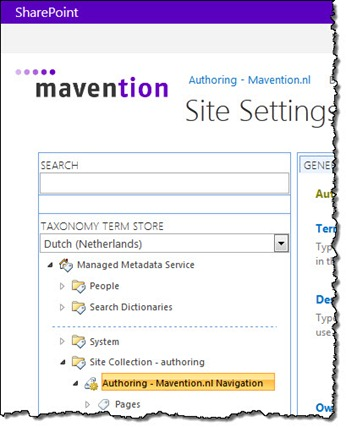 The Navigation Term Set on the authoring site