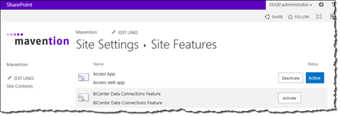 The Access App Feature activated in a SharePoint 2013 Site
