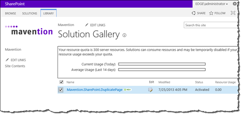 Sandboxed Solution activated using Mavention Batch Sandboxed Solutions Activator