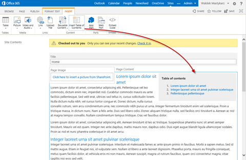 Table of contents inserted using the Mavention Insert Table of Contents App for SharePoint