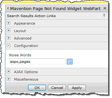 The Noise Words setting of the Mavention Page Not Found Widget Web Part.