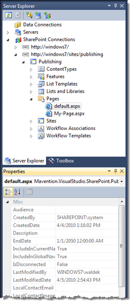Properties of a Publishing Page displayed in the Visual Studio 2010 Properties Window