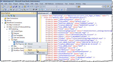 Publishing Pages added to Visual Studio 2010 SharePoint Developer Tools