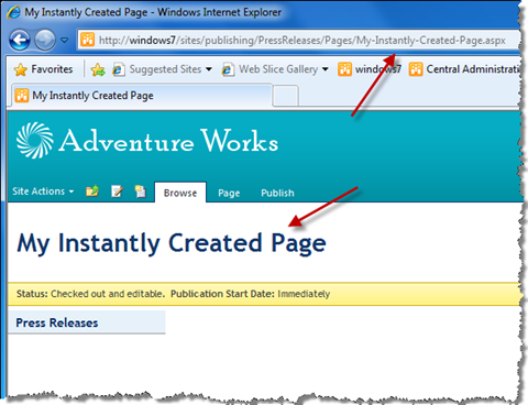 Publishing Page created using Mavention Instant Page Create Feature gets the URL based on the Title entered while editing content.