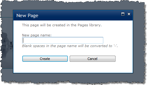 New Page dialog in SharePoint 2010