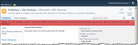Error message about having crossed the limit of 50000 entries in the XML Sitemap.