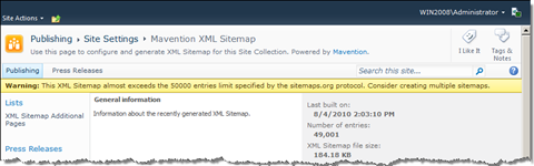 Warning message about almost exceeding the limit of 50000 entries in the XML Sitemap.