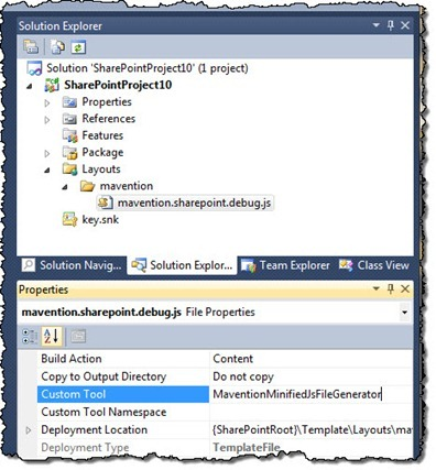 Configuring minification custom tool for a JavaScript file in Visual Studio 2010