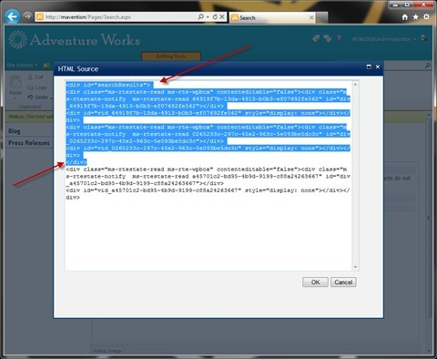 HTML source of the Rich Text Editor