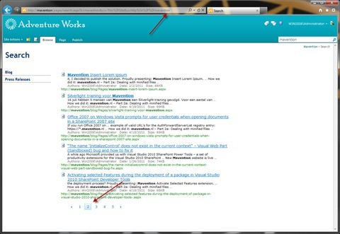 Arrows pointing to the URL of the page and the highlighted page in the Search Paging Web Part