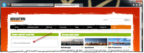 Adventure Works Travel site with a red arrow pointing to the welcome message for anonymous users
