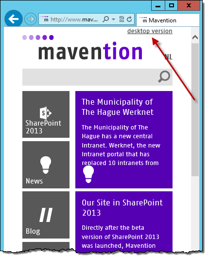 The 'desktop version' link displayed on mavention.com