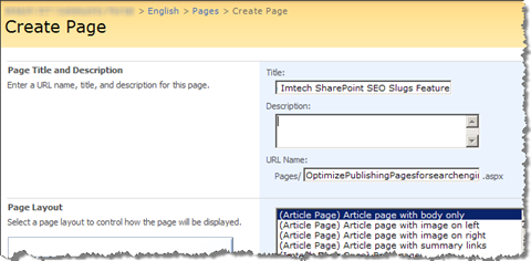 Standard page name (slug) generated by SharePoint is not optimized for search engines
