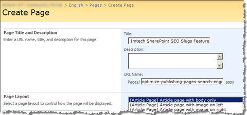 Generate optimized slugs for Publishing Pages using Imtech SharePoint SEO Slugs Feature