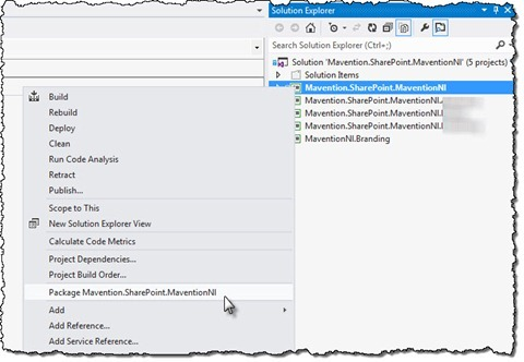 The 'Package project' menu option highlighted in the context menu of a SharePoint 2013 project in Visual Studio 2012 RC