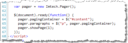 JavaScript snippet to initiate the paging functionality