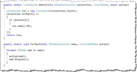 Definition of a Where lambda expression which can be attached to SPWebCollection