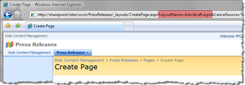 Preselect a Page Layout using the LayoutName query string parameter
