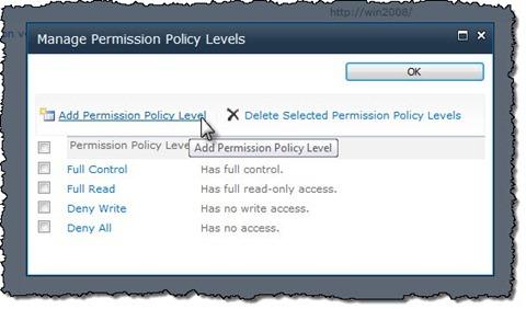 The 'Permission Policy Level' button highlighted