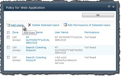 The 'Add Users' button highlighted in the 'Policy for Web Application' dialog window