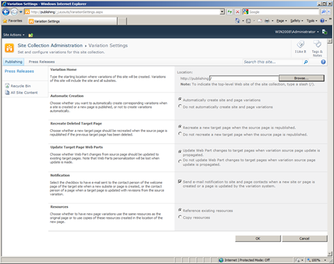 Variation Settings page in SharePoint Server 2010.