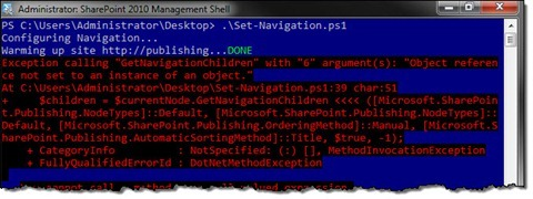 An exception displayed in a PowerShell window