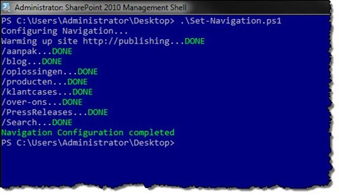 Navigation configuration PowerShell script successfully completed