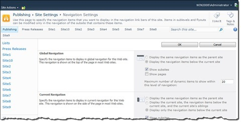 The Navigation Settings page in SharePoint 2010