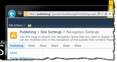 SharePoint 2010 Publishing Site showing menu items as specified in the array