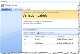 A piece of the Variation Labels configuration page in SharePoint 2007