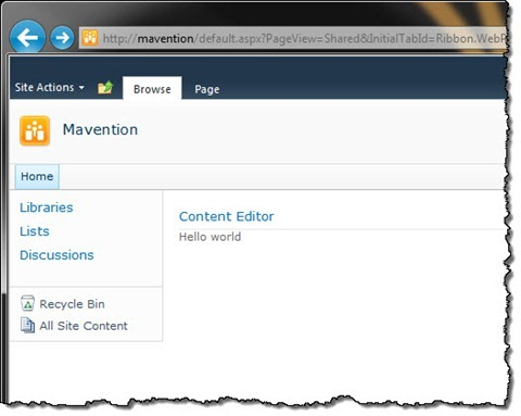 Content Editor Web Part added to a Web Part Page in SharePoint 2010
