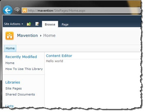 Content Editor Web Part added to a Wiki Page in SharePoint 2010