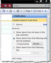 Various scopes querying data using the Content Query Web Part