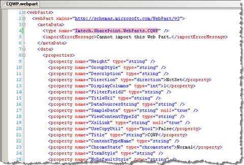 XML of an exported web part
