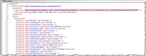 XML of an exported web part modified to support assembly discovery