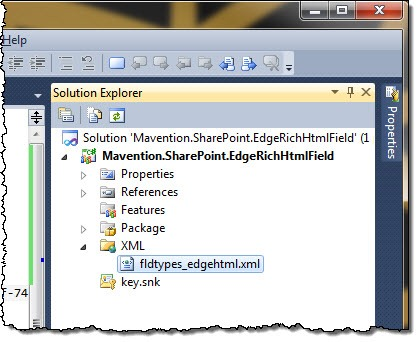 Field Definition highlighted in the SharePoint Project structure