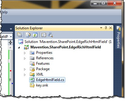 Field Definition class highlighted in the SharePoint Project structure