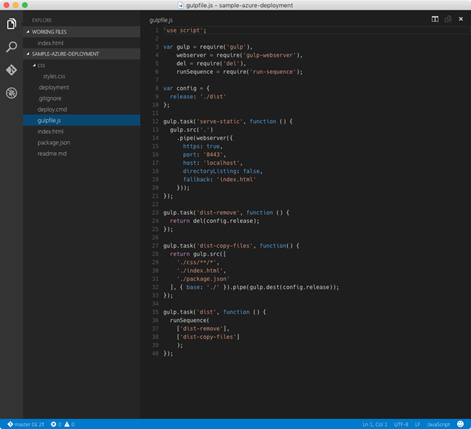 Gulpfile.js open in Visual Studio code