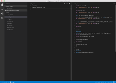 .deployment and deploy batch files open in Visual Studio Code