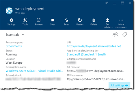 Azure Web App with Continuous Deployment through a local Git repository displayed in the Azure Management Portal