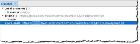 azure-prod repository listed as a remote repository for the sample project