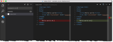 Changes to the index.html file displayed in Visual Studio Code