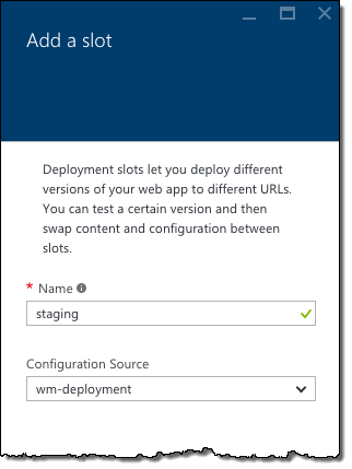 Configuring new Deployment Slot for a Azure Web App