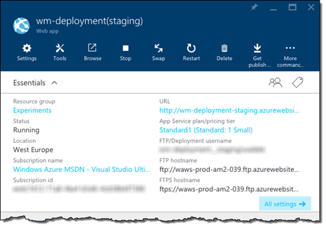 Deployment Slot blade displayed in the Azure Management Portal