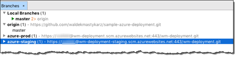 azure-staging repository listed as a remote repository for the sample project