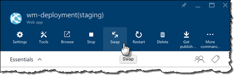 The Swap button highlighted on the staging deployment slot's blade