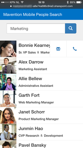 Searching for people on a mobile device with the Mavention Mobile People Search App for SharePoint