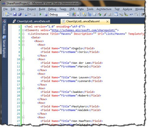 Visual Studio with a new version of the Elements.xml file with unwanted fields removed