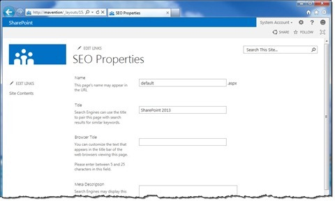 SEO Properties page